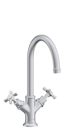 Brushed Chrome 2-handle basin mixer 210 with cross handles and pop-up waste set