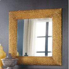 Abstract Mirror-square, Carved Wood With Gold Textured Finish.