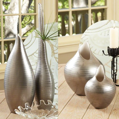 Platinum Stripe Vase-Lg