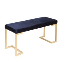 Midas Bench - Gold Metal, Blue Velvet