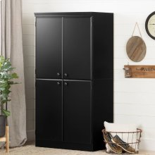 4-Door Storage Cabinet - Pure Black