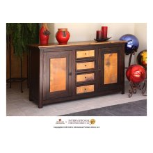 59in Console Copper Top w/2 Doors, 4 Drawers