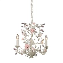 Heritage 3-Light Chandelier in Cream with Porcelain Roses and Crystal