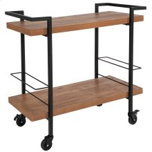 Castleberry Rustic Wood Grain and Iron Kitchen Serving and Bar Cart