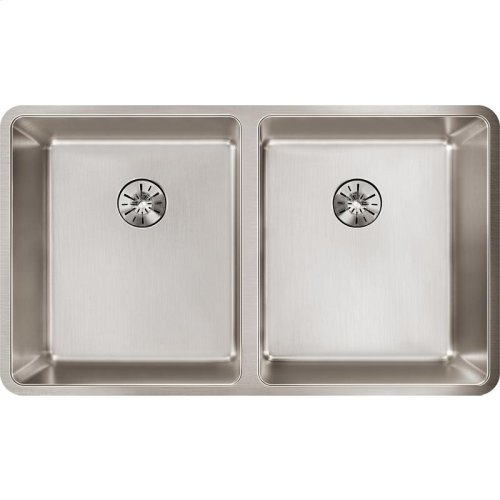 "Elkay Lustertone Iconix Stainless Steel 32-3/4"" x 19-1/2"" x 9"", Double Bowl Undermount Sink with Perfect Drain"