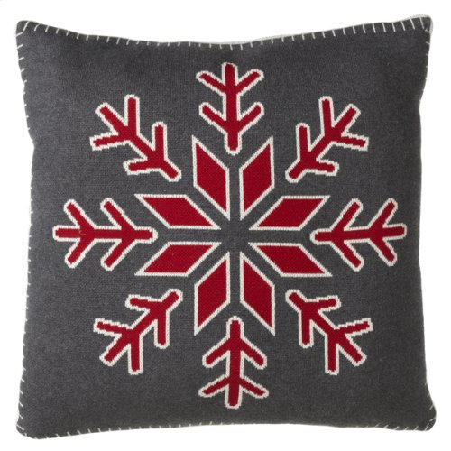 Red & Grey Snowflake Knit Pillow with Stitched Edge.