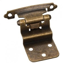 """3/8"""" Inset Hinge with 4 - #5 x 5/8"""" Oval Head Screws, 6 - #6 x 1/2"""" Flat Head Screws and 2 Flat Form Pads. Finish: Antique Brass"""
