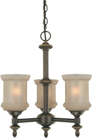 3-lite Chandelier, Bronze W/glass Shade, Type A 60wx3