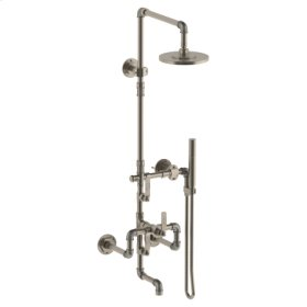 Wall Mounted Exposed Thermostatic Tub/ Shower With Hand Shower Set and Diverter