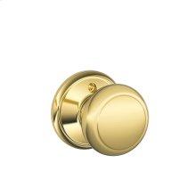 Andover Knob Non-turning Lock - Bright Brass