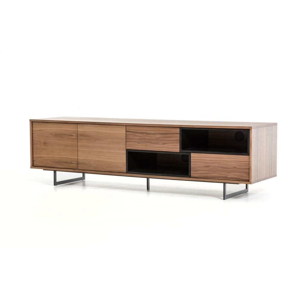 Modrest Torlonia Modern Walnut & Black TV Stand