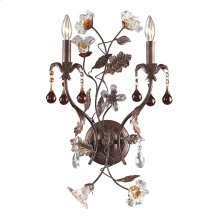 Cristallo Fiore Collection 2-Light Wall Sconce in Deep Rust with Crystal Florets
