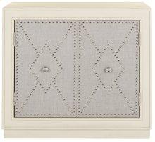 Erin 2 Door Chest - Light Grey Linen / Nickel / Mirror