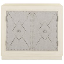 Erin 2 Door Chest - Light Grey Linen / Nickel / Mirror