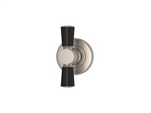 Tube Stitch Out Combination Leather In Black And Satin Nickel