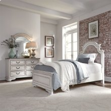 Full Upholstered Bed, Dresser & Mirror