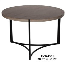 Stratus Metal and Wood Tri Leg Round Cocktail Table