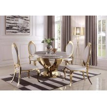 Kendall Modern Marble and Gold Dining Table
