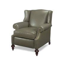 Jimmy Wing Chair Recliner features a tight back for firm support and clean, tailored lines. The solid Hardrock Maple round turned leg is built into the frame for extra stability and can be stained in any of our wood finishes. A Seat Pleaser unit is dropped into the seat system for closest simulation to 8-way hand-tied seating. Reclining mechanism is available in either manual or power. #Made in the USA.