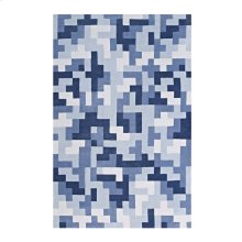 Andela Interlocking Block Mosaic 5x8 Area Rug in Multicolored Light and Dark Blue
