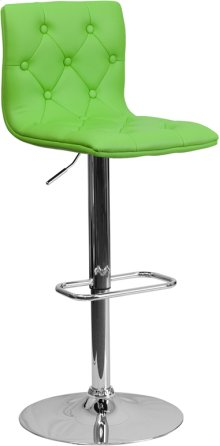 Contemporary Button Tufted Green Vinyl Adjustable Height Barstool with Chrome Base