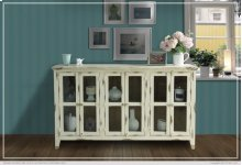 Console w/6 Glass Doors, Vanilla finish
