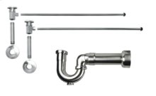"Lavatory Supply Kit w/ Massachusetts P-Trap - Angle - Deluxe Brass Oval Handle - 1/2"" Female IPS Inlet x 3/8"" O.D. Compression Outlet - Antique Brass"