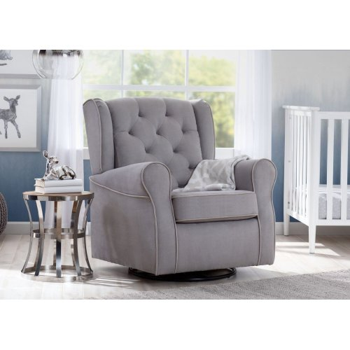 Emerson Nursery Glider Swivel Rocker Chair Dove Grey With Soft Welt 036