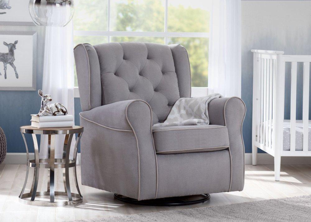 Emerson Nursery Glider Swivel Rocker Chair   Dove Grey With Soft Grey Welt  (036)