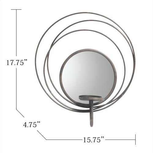 """Silver Mirror Sconce Candle Holder 17.8"""""""