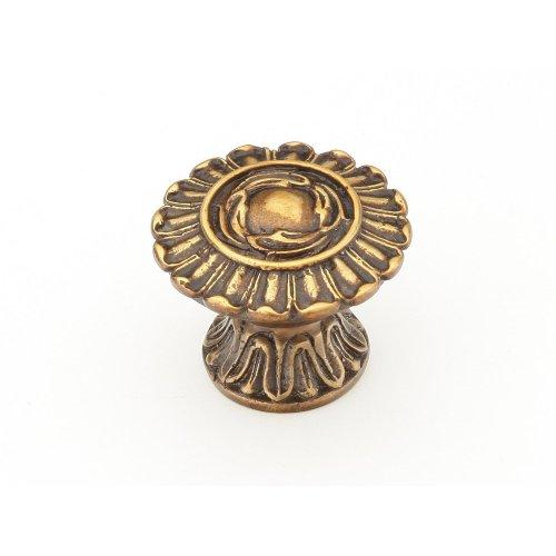"Solid Brass, Symphony, Swans, Round Knob, 1-1/4"" diameter, Dark Italian Antique finish"