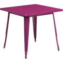 31.5'' Square Purple Metal Indoor-Outdoor Table