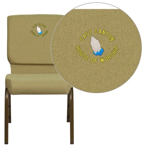 Embroidered HERCULES Series 18.5''W Moss Green Fabric Stacking Church Chair with 4.25'' Thick Seat - Gold Vein Frame