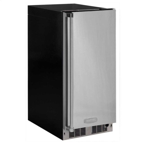 """15"""" Clear Ice Machine with Tri-Color Illuminice Lighting - Stainless Steel Framed Glass Door, Right Hinge, Professional Handle"""