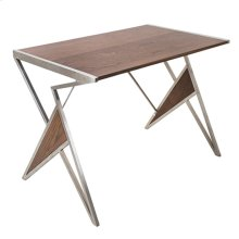 Tetra Desk - Brushed Stainless Steel, Walnut Wood