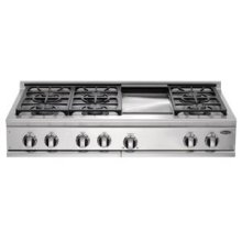 """Brushed Stainless Steel 48"""" Prof. Cooktop"""