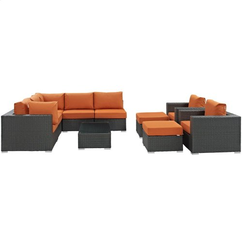 Sojourn 10 Piece Outdoor Patio Sunbrella® Sectional Set in Canvas Tuscan
