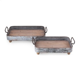 Kunz Decorative Wood and Metal Trays - Set of 2
