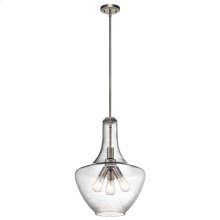Everly Collection Everly 3 Light Pendant in Brushed Nickel