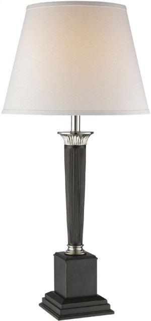 Table Lamp, Chrome/dark Bronze/white Fabric Shade, E27 A 100