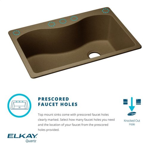 "Elkay Quartz Classic 33"" x 22"" x 9-1/2"", Single Bowl Drop-in Sink, Greige"