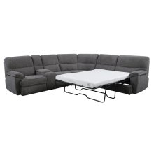 """3pc Sectional-lsf Power Console Love-wedge-rsf 4/6 Full Sleeper W/4""""gel Mattress-platinum#zy6286-2"""