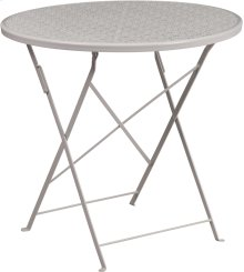 30'' Round Light Gray Indoor-Outdoor Steel Folding Patio Table