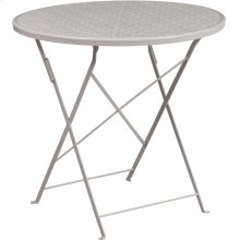 30'' Round Light Gray Indoor-Outdoor Steel Folding Patio Table