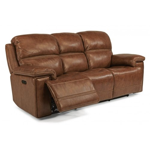 Fenwick Leather Reclining Sofa With Headrests