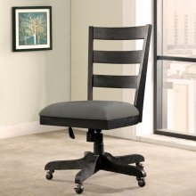 Perspectives - Wood Back Upholstered Desk Chair - Ebonized Acacia Finish