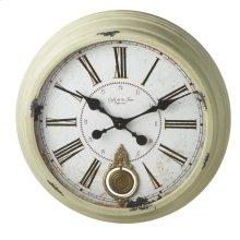 Distressed Sage Round Wall Clock with Pendulum.