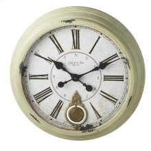 Distressed Sage Round Wall Clock with Pendulum.