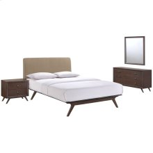 Tracy 4 Piece Queen Upholstered Fabric Wood Bedroom Set in Cappuccino Latte
