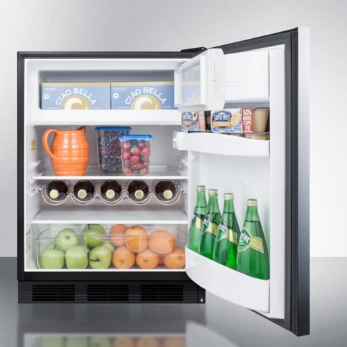 ADA Compliant Freestanding Refrigerator-freezer for Residential Use, Cycle Defrost With Deluxe Interior, Ss Wrapped Door, Horizontal Handle, and Black Cabinet